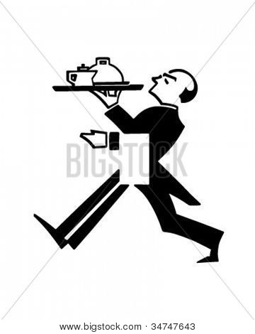 Butler With Tray - Retro Clipart Illustration