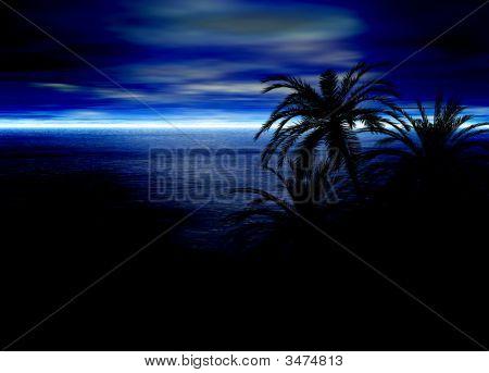 Blue Seascape Horizon With Palm Tree Silhouettes