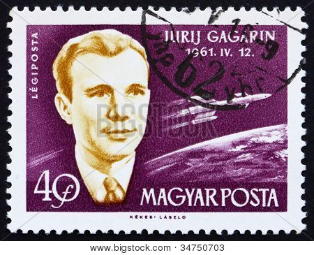 Postage stamp Hungary 1962 Yuri A. Gagarin, Astronaut