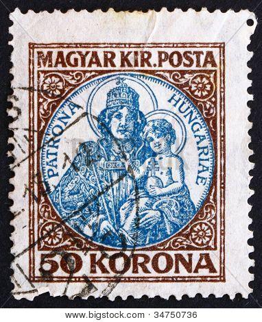 Postage stamp Hungary 1921 Madona and Child