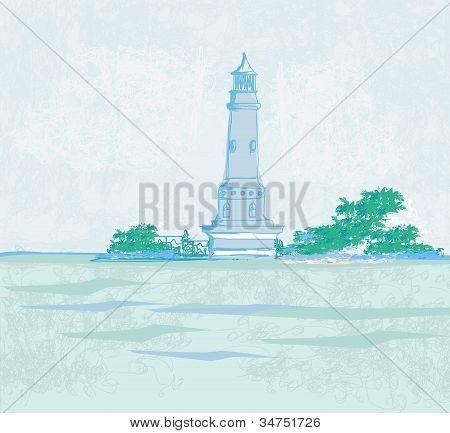 Leuchtturm gesehen von einem winzigen Strand-Grunge-Plakat