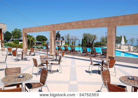 Sea View Outdoor Restaurant At The Modern Luxury Hotel, Pieria, Greece