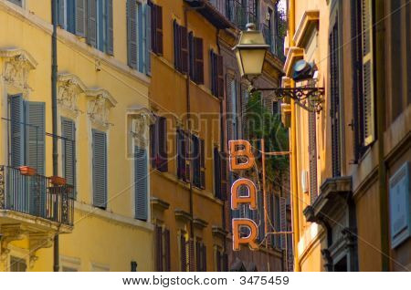Bar Sign In The Street Of Rome