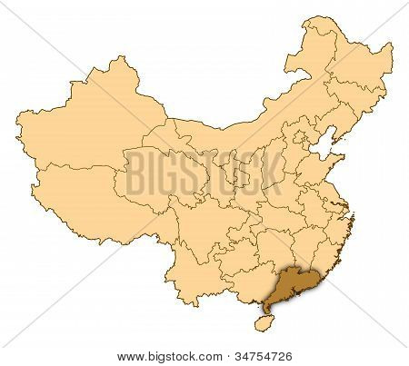 Map Of China, Guangdong Highlighted
