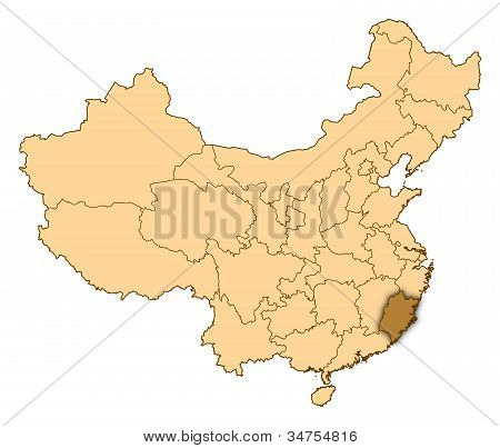 Map Of China, Fujian Highlighted