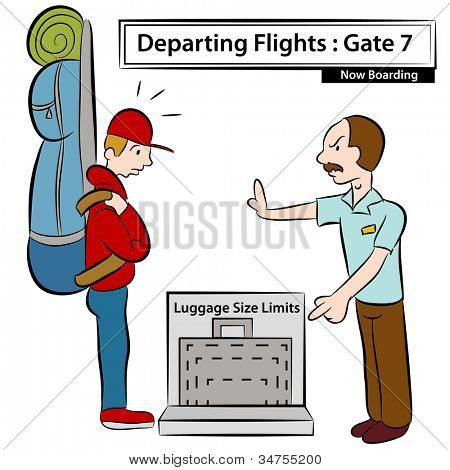 An image of a airport attendant stopping man with oversized luggage.