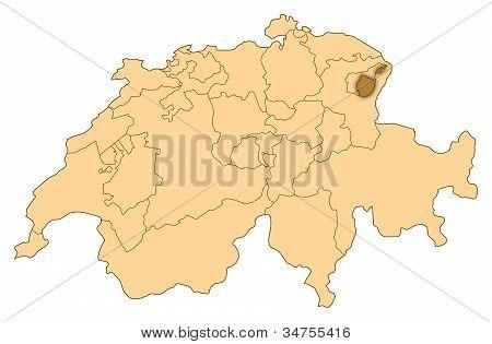 Map Of Switzerland, Appenzell Innerrhoden Highlighted