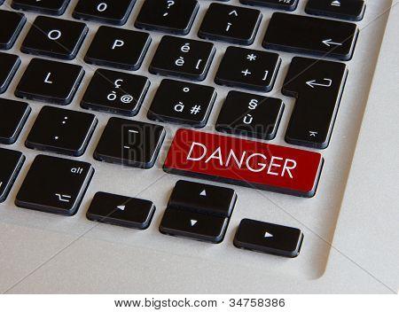 Computer Keyboard - Glowing Danger Key