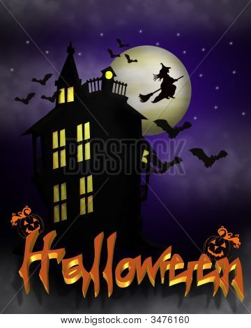 Halloween Haunted House With 3D Text