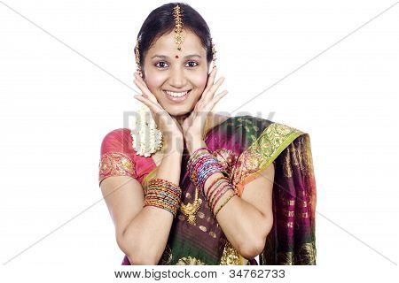 Surprised Young Traditional Woman