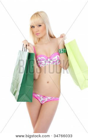 Picture Of Seductive Woman In Sexy Pink Lingerie With Shopping Bags