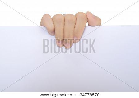 Mulher papel de espera em branco