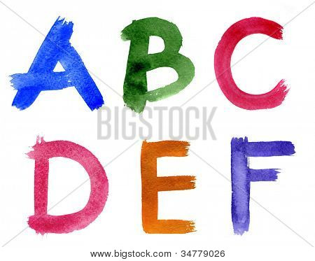 Watercolor alphabet isolated on a white background