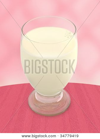 Glass Of Milk - Pink Background