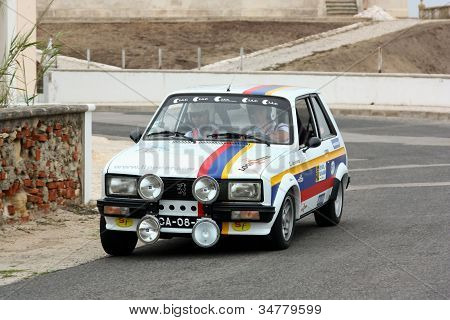 Foz Do Arelho, Portugal - May 13: Carla Jeronimo Drives A Peugeot 104 Zs During Rally Sprint Foz Do
