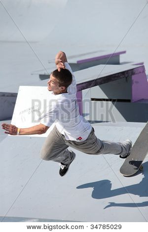MOSCOW, RUSSIA - JULY 8: Tomas Stejskal, Czech Republic, is traumatized in skateboarding competition during Adrenalin Games in Moscow, Russia on July 8, 2012