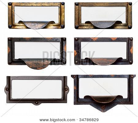 Old File Drawer Frames With Blank Labels