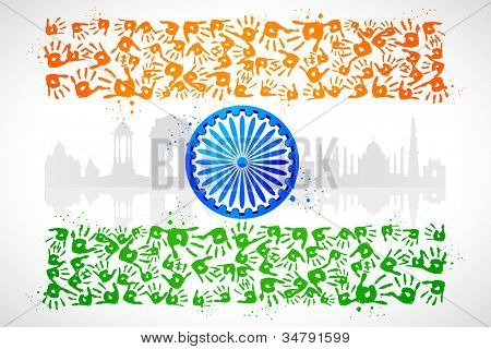illustration of hand print of Indian tricolor with monument