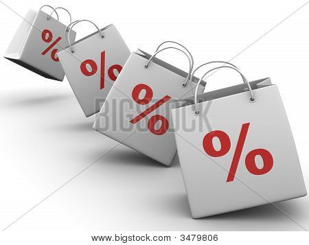 Shopping bag with percent.