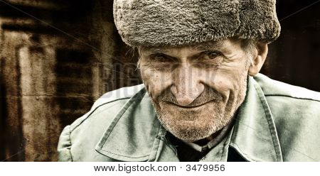 Vintage Portrait Of Smiling Old Man