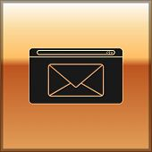 Black Mail And E-mail Icon Isolated On Gold Background. Envelope Symbol E-mail. Email Message Sign.  poster