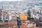 Miradouro Da Graca Viewpoint In The Central Lisbon, Portugal Overlooks The Traditional Rooftops Of T poster