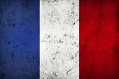 stock photo of frazzled  - Grunge Dirty and Weathered French Flag Old Metal Textured - JPG