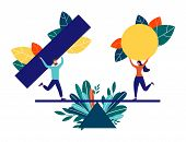 Vector Illustration Of Flat People. Team Of People Collect Abstract Geometric Puzzle. Symbols Collec poster