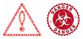 Coronavirus Collage Danger Icon And Rounded Rubber Stamp Seal With Danger Caption. Mosaic Vector Is  poster