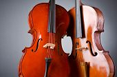 stock photo of viola  - Music Cello in the dark room - JPG