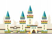Castle With Towers. Horizontal Brick Wall From Castle With Big Wooden Door Vector Flat Pictures. Tow poster
