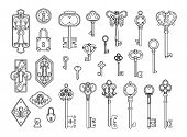 Vintage Locks And Keys. Sketch Keyhole, Victorian Style Padlock. Medieval Or Antique Door Hole, Old  poster