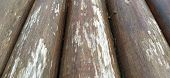 Round Timber Assortment. Fragment Of The Construction Of Rounded Wooden Logs. The Effect Of Moisture poster