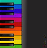 picture of rainbow piano  - vector colorful piano keyboard on a black background - JPG
