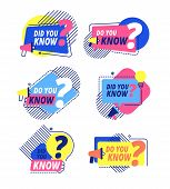 Do You Know. Questions Templates, Did You Know Banners. Interesting Post, Abstract Business Isolated poster