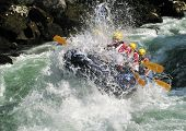 image of raft  - European rafting championship R6 on the rapids of river Vrbas near Banja Luka Republika Srpska Bosnia and Herzegovina - JPG