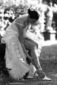 Beautiful Bride Adjusting Her Stockings