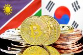 Concept For Investors In Cryptocurrency And Blockchain Technology In The Namibia And South Korea. Bi poster