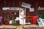 picture of thrift store  - View of antiques thrift store with various items displayed - JPG