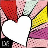 Bright Frame With Hearts In Pop Art Style. Diverging Multi-colored Rays Of Red, Yellow, Turquoise, P poster