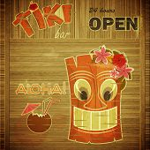 image of tiki  - Vintage design hawaii menu  - JPG