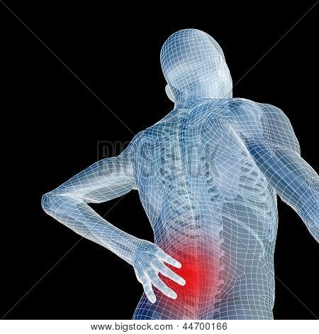 High resolution concept or conceptual 3d human male or man anatomy isolated on black background as metaphor to pain,back,body,spine,backache,medical,injury,medicine,health,hurt,painful,spinal  therapy