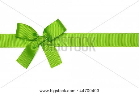 green  ribbon bow isolated on white background