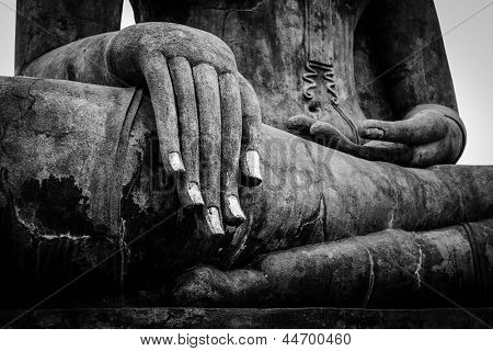 Buddha statue hand close up detail. Sukhothai, Thailand