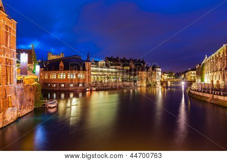 Travel Europe Belgium background - Ghent canal in twilight the evening. Ghent, Belgium