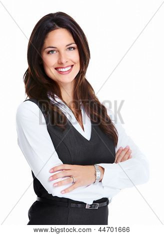 Portrait of happy young Business Woman isoliert auf weißem Hintergrund