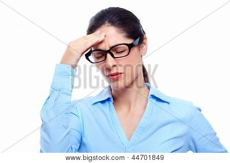 Young woman with headache. Isolated over white background.