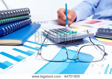 Businessman working with documents. Finance and accounting business background.