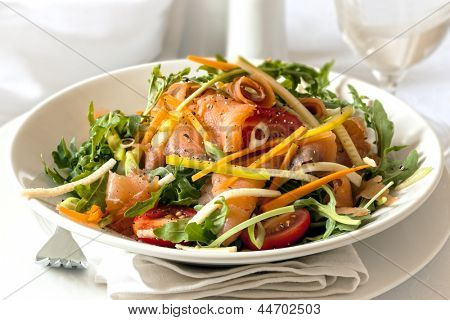 Smoked salmon salad.  Delicious, nutritious eating.