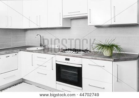 interior of small white kitchen